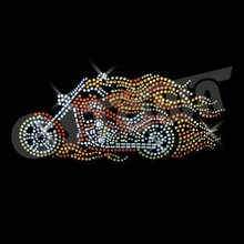 Korean strass transfer--Yellow and Red Motorcycle Rhinestone Transfers