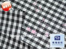 PU Coating Check Fabric Black And White Printed Check Poplin With PU Coating Fabric Factory In Huzhou City,Zhejiang,China