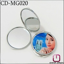 Promotion gift metal round compact purse size mirror with customized design CD-MG020