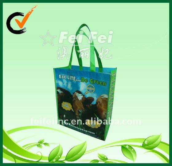 Glossy non woven bag with colorful printing laminated reusable shopping bag