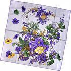 Chrysanthemum Printed Silk Twill Scarf Purple/Green
