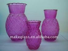 pineapple shape glass vase,flower glass vase