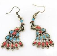 peacock crystal drop earring