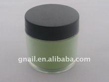 green color crystal acrylic powder nail art