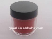 red color crystal acrylic powder nail art