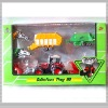 Pull back die cast metal farmer tractor with trailers H08384