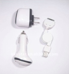 3 in 1 American Plug Adapter Car Charger USB Retractable Cable for iPhone 4/3G