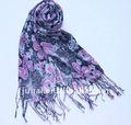 Yeni Headwrap sıcak satış Pembe çiçek baskılı viskon eşarp saçak kışiçin