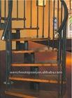 stainless steel wood step PVC handrail arc stair
