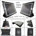 black foldable leather smart cover case for ipad2, MOQ:300pcs wholesale