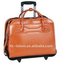 Durable Leather Detachable Wheeled Women's Laptop Case