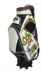 Shining PU leather waterproof Chinese-style Designer Gold golf bag