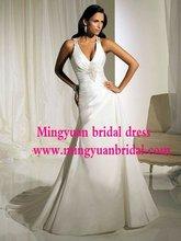 2012 Newest Design Crystal beaded with pleats custom made wedding dress