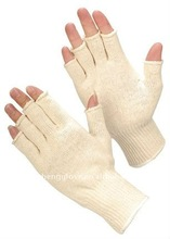natural cotton knitted glove,fingerless style
