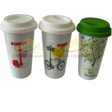 Double Wall Silicone Sleeve Porcelain Coffee Mug/Cup With Lid