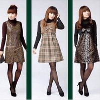 The new character set leopard fur vest plaid skirt / dress / skirt
