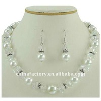 fashion cheap faux glass pearl crystal artificial necklace sets