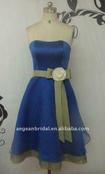 Cheap short sexy royal blue satin real sample with sash bridesmaid dress XZ-bd016