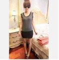 Equipo con encanto de rayas de algodón costura capas de pastel de gasa vestido de gasa casual t- shirt camisa de vestir