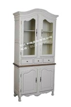 4-door French style wooden display cabinet in white