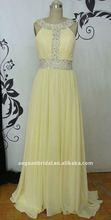 Style XZ-ed043 Elegant halter beaded yellow chiffon long sexy real sample 2012 new design evening dress