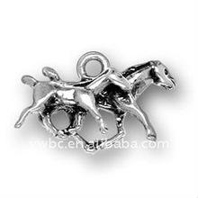 antique silver zinc alloy mare and colt jewelry pendants