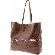 Croc-embossed lambskin leatherette Handbag/Tote bag