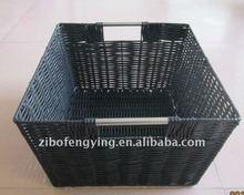 Classic style handmade woven cheap handle plastic laundry basket black