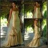 Unique Style Ruffle Sweep Train Beaded Wedding Dress