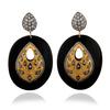 925 Sterling Silver Black Bakelite & Cubic Zirconia Earring, Bakelite Plastic Dangler Earring