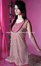 2015 New Style Sleeveless Blouse with beautiful neck pattern