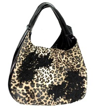 Japan wholesale patent leather fake fur leopard pattern and embroidery rose women bag black
