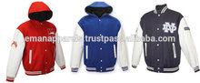 varsity jacket with leather sleeves wholesale,OEM fashion woolen men jacket