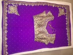 Purple Exclusive Black Red Designer Bridal saree / sari with blouse stitching