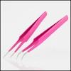 Extra Fine Pointed Pink Eyelash Extension Tweezers