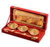 Indian Gold Palted Vintage Brass Bowls Set with Tray & Spoons Kitchen Decor Gifts
