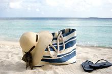 2014 New Design fashion canvas Stripe Beach Bag