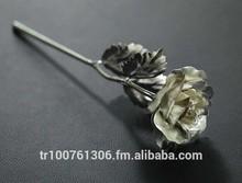 25cm silver foil rose flower