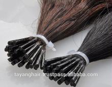 Unprocessed virgin hair I-Tip weft Hair Natural color tape Hair Pre Bonded fusion Grade Nano Tip keratin clip-in hair