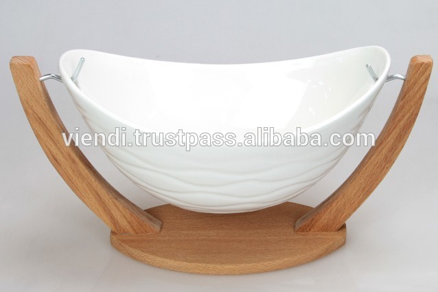 Wooden Salad Bowl With Stand Wooden Stand Ceramic Salad