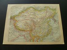 francese antico mappa della cina stampa antica impero cinese