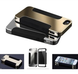 Luxury Hybrid Plated PC Soft Silicon Double layer Protect Phone Cases for iPhone 4/4S 5/5S Cover Brand Case for iPhone 6