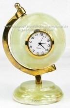 World Globe Shape Onyx Desk Clock