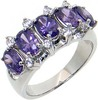 Amethyst and yellow CZ rhodium plated 925 sterling silver ring