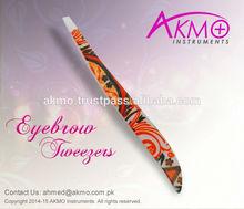 Slanted Cosmetic Tweezers in Zebra / Animal / Glitter / Plasma / Shine Black / Matt Black Colors with New Attractive Packing