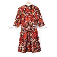 New European Women Autumn 2014 Floral Print Beaded Neckline Casual Cotton Short Sleeves Shift Dress