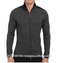 L/S Rib Woven Full-Zip Mock Neck Sweater