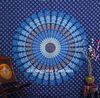Indian Cotton Hand Printed Mandala Tapestry Hippy Bohomain Bedspread Bed Sheet Tapestry Blue Mandala Tapestry
