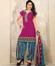 Fabulous Indian Dress In Purple Color For Village Girls