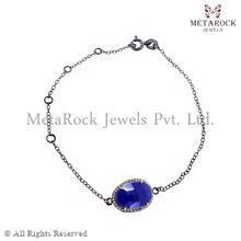 Oro 14k spianare braccialetto di diamanti, gemma braccialetto di diamanti, fornitore braccialetto progettista